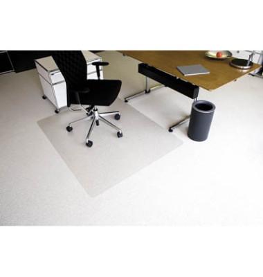 Bodenschutzmatte Ecoblue 120 x 150 cm Form O für Teppichböden transparent PET