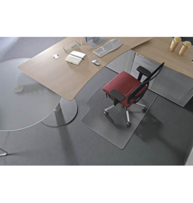 Bodenschutzmatte Ecogrip 120 x 150 cm Form L für Teppichböden transparent Makrolon