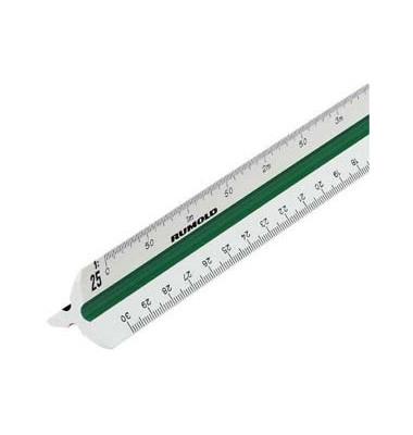 Dreikantmassstab Ingenieur DIN weiß 30cm Kunstst.