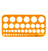Kreisschablone Ø 1-36mm 260 x 130 x 1,6mm orange
