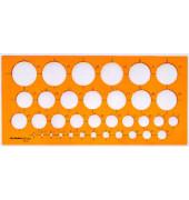 Kunststoff-Kreisschablone 2810 orange-transparent Ø 1-35mm