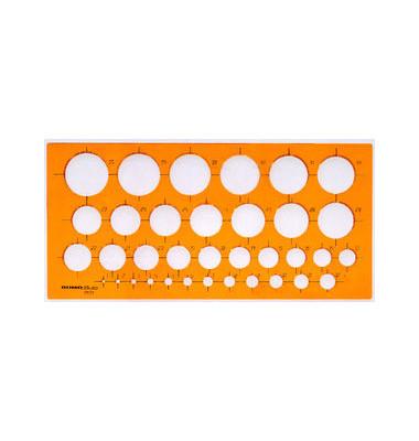 Kreisschablone Ø 1-35mm 27 x 13cm orange