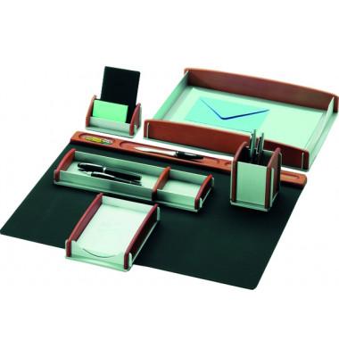 Schreibtischset 968910 buche/silber 6-teilig Echtholz Buche