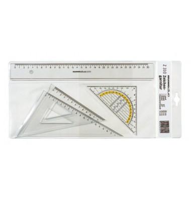 Zeichengarnitur DUO 30 cm Lineal rauchglas
