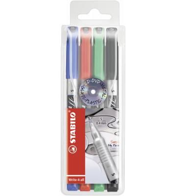 Faserschreiber Write4all perm. 4 Farben S 0,4mm