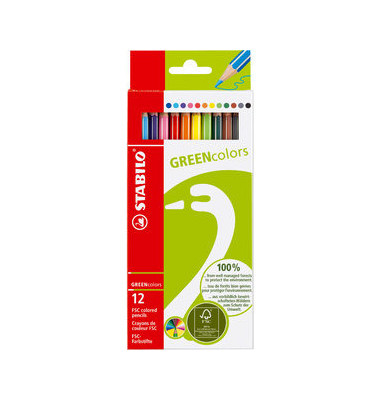 Farbstift GREENcolors sortiert 12er-Karton