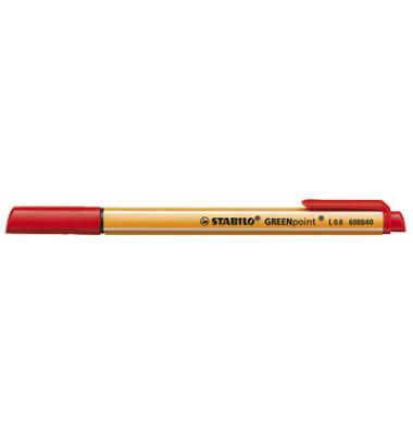 Faserschreiber GREENpoint rot 0,8mm mit Kappe
