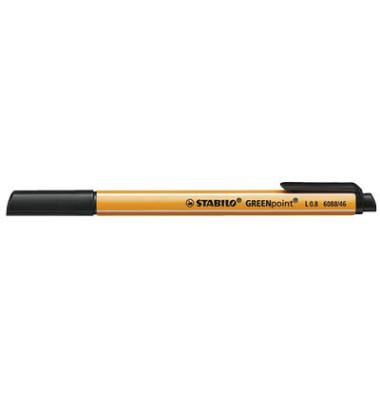 Faserschreiber GREENpoint schwarz 0,8mm mit Kappe