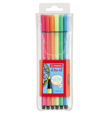 Faserschreiber-Etui Pen 68 Kunstst. Leuchtfarben 6 St