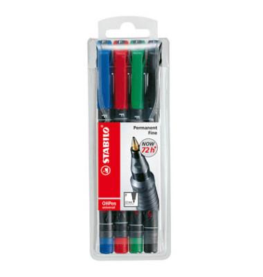 Folienstift OHPen universal 842 F farbig sortiert 0,7 mm 4er Etui permanent