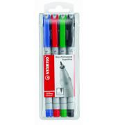 Folienstift OHPen universal 851 S farbig sortiert 0,4 mm 4er Etui non-permanent