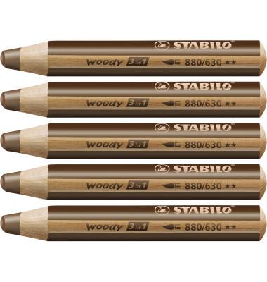 Farbstift woody 3 in 1 braun 10mm extradick 5 Stück