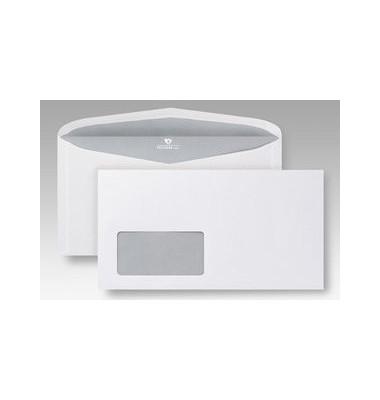 Kuvertierhüllen Euroform 1 Kompakt mit Fenster nassklebend 80g weiß 125x235mm 1000 Stück
