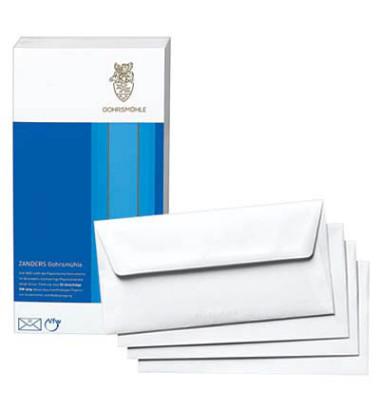 Gohrsmühle Briefumschläge Din Lang ohne Fenster nassklebend mit Seidenfutter 80g weiß 25 Stück