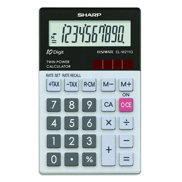 Solar-// Batteriebetrieb SHARP Taschenrechner EL-W211G GY