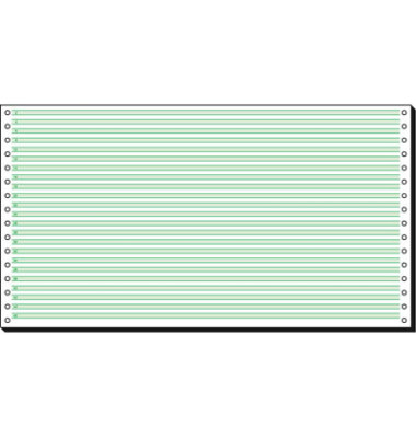 Computerpapier 1-fach 375mm x 8 Zoll Leselinien 4,2mm weiß/grün 60g 2000 Blatt