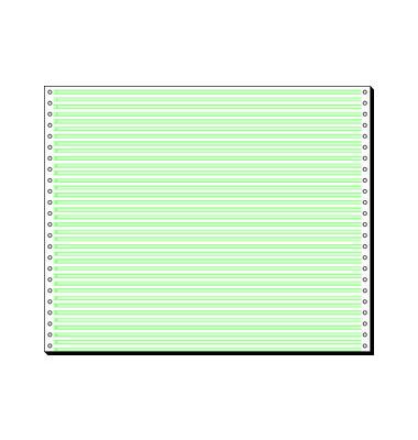 12371 Computerpapier 1-fach 375mm x 12 Zoll Leselinien 4,2mm weiß/grün 60g 2000 Blatt