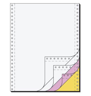Computerpapier 4-fach 240mm x 12 Zoll selbstdurchschreibend blanco weiß/rosa/gelb 60/53/57g 500 Blatt