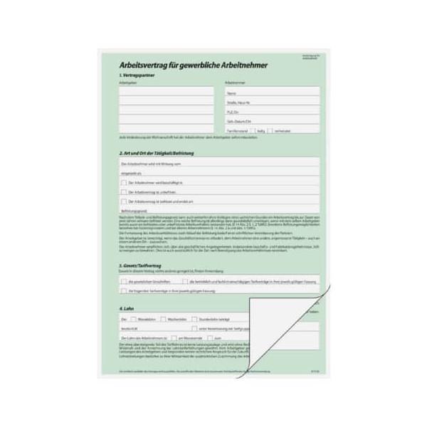 Sigel Arbeitsvertrag Av422 Selbstdurchschreibend Gewerblich A4 Hoch