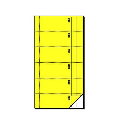 Bonbuch BO096 360 Abrisse selbstdurchschreibend gelb 105x200mm 2x60 Blatt
