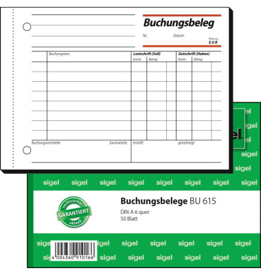 Buchungsbeleg BU615 A6 quer 50 Blatt