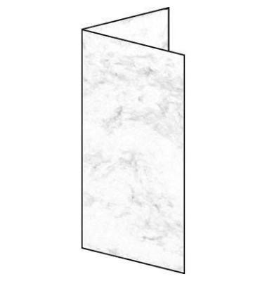 Faltkarte DIN lang 185g 25Bl Marmor grau