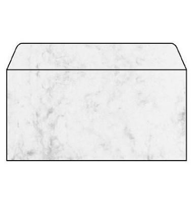 Designbriefumschläge Din Lang ohne Fenster nassklebend 90g Marmor grau 50 Stück