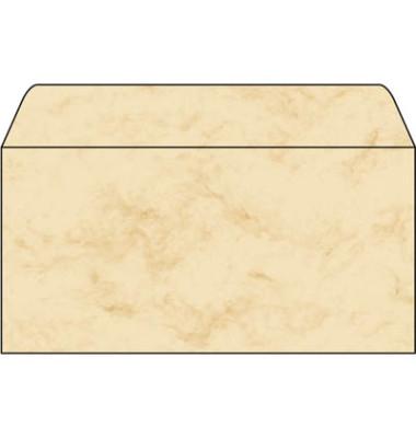 Designbriefumschläge Din Lang ohne Fenster nassklebend 90g Marmor beige 50 Stück