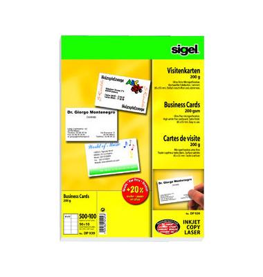 DP939 Visitenkarten weiß 85 x 55 mm 200g 600 Stück