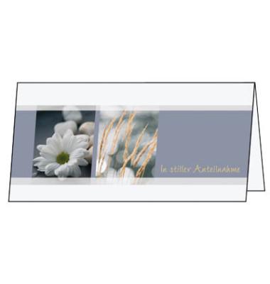Trauerkarte m.Umschlag Blumen DL 220g 10/10 St