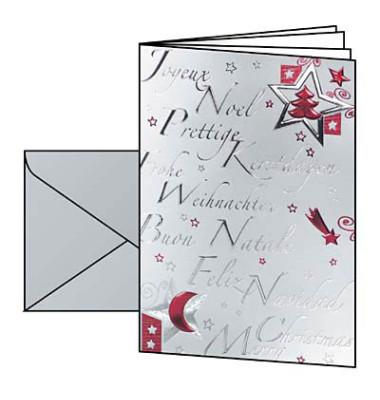 Weihnachtskarten Silver Star A6 10 Stück inkl. weißen Umschlägen DS362