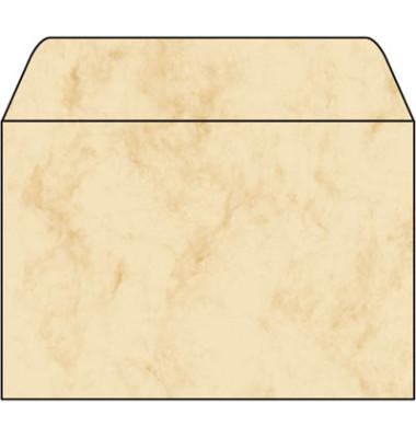 Designbriefumschläge C6 ohne Fenster nassklebend 90g Marmor beige 25 Stück