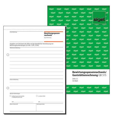 Gaststättenabrechnung GB515 weiß A5 50 Blatt