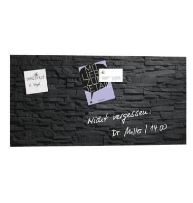 Glas-Magnetboard artverum GL 149, 91x46cm, schwarz, Design Schiefer Stone
