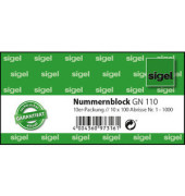 Nummernblock 1-1000 5-farbig 105 x 50mm GN110