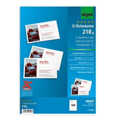 IP520 3C- Visitenkarten weiß 85 x 55 mm 210g 100 Stück