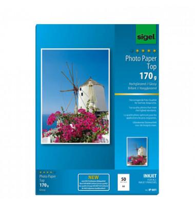 Inkjet-Fotopapier A4 IP-601 Top einseitig hochglänzend 170g 50 Blatt