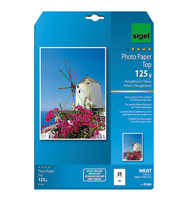 Inkjet-Fotopapier A4 IP-663 Top hochglänzend 125g 25 Blatt