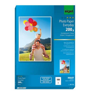 Inkjet-Fotopapier A4 IP-712 Everyday Plus hochglänzend 200g 100 Blatt