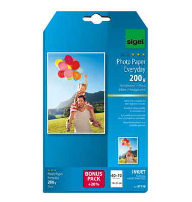 Inkjet-Fotopapier 10x15cm IP-719 Everyday Plus hochglänzend 200g 72 Blatt