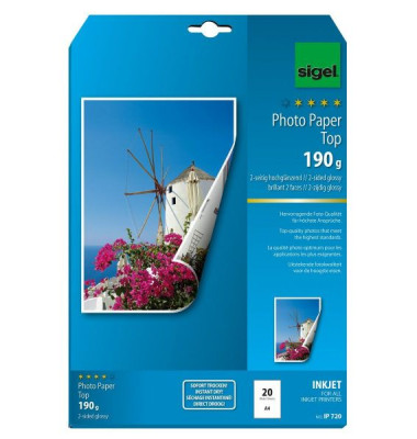 Inkjet-Fotopapier A4 IP-720 Top beidseitig hochglänzend 190g 20 Blatt