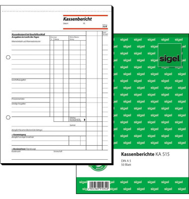 Kassenbericht KA515 A5 hoch 50 Blatt
