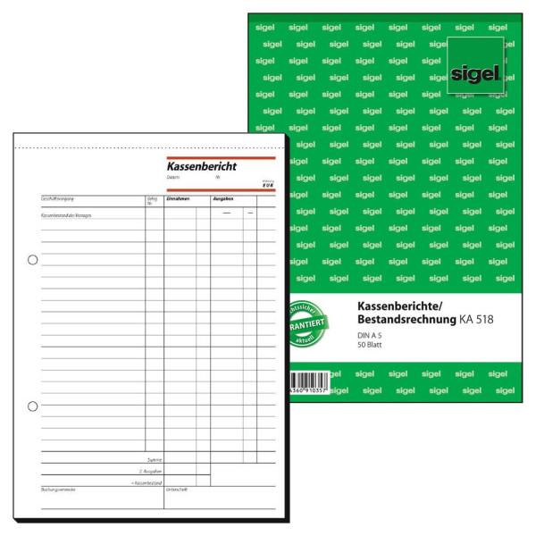 Sigel Kassenbericht / Bestandsrechnung KA518 A5 hoch 50 Blatt