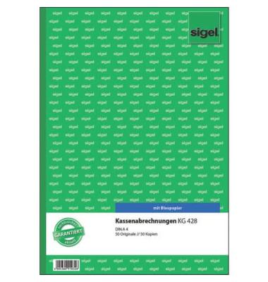 Kassenabrechnungsbuch KG428 A4 einfach 2x50 Blatt