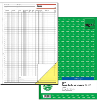 Kassenbuch KG429 für EDV A4 2x50 Blatt