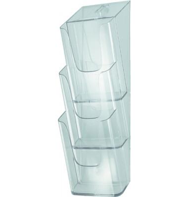 Wandprospekthalter 3 Fächer Din Lang glasklar