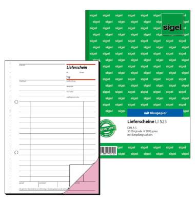 Lieferschein LI525 mit Empfangsschein A5 hoch 2x50 Blatt