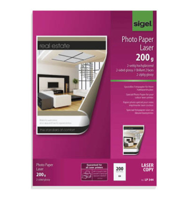 Laser-Fotopapier A4 LP-344 beidseitig glänzend 200g 200 Blatt