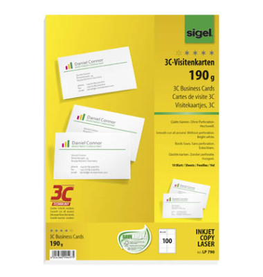 LP790 3C- Visitenkarten weiß 85 x 55 mm 190g 100 Stück