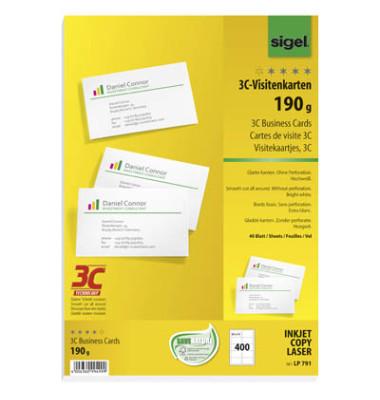 LP791 3C- Visitenkarten weiß 85 x 55 mm 190g 400 Stück